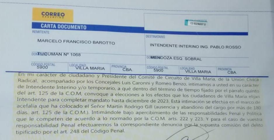 Carta documento UCR contra Rosso