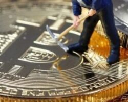 Minería cripto minero juguete bitcoin vertical